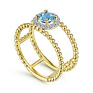 14k Yellow Gold Round Fashion Swiss Blue Topaz Ladies' Ring