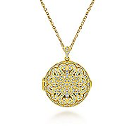 14k Yellow Gold Round Openwork Diamond Locket Necklace