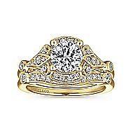 14k Yellow Gold Round Split Shank Engagement Ring