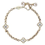14k Yellow Gold Secret Garden Chain Bracelet angle 1