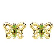 14k Yellow Gold Secret Garden Stud Earrings