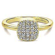 14k Yellow Gold Silk Classic Ladies' Ring angle 1