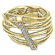 14k Yellow Gold Souviens Wide Band Ladies' Ring angle 1