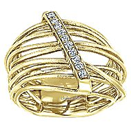 14k Yellow Gold Souviens Wide Band Ladies' Ring angle 4