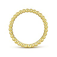 14k Yellow Gold Stackable Beaded Edge Ladies Ring