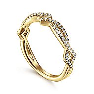 14k Yellow Gold Stackable Entwined Diamond Shape Ladies Ring