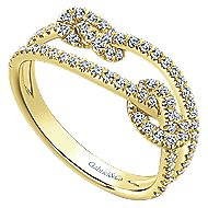 14k Yellow Gold Twisted Knot Ladies Ring