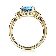 14k Yellow Gold Twisted Oval Swiss Blue Topaz & Diamond Fashion Ring