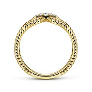 14k Yellow Gold Twisted Split Shank Pave Diamond Fashion Ring