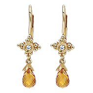 14k Yellow Gold Victorian Drop Earrings angle 1