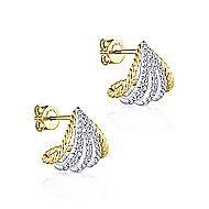 14k Yellow/White Gold Diamond Wrap Around Stud Earrings