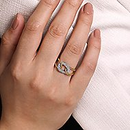 14k Yellow/White Gold Twisted Chain Link Diamond Ladies Fashion Ring