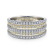 14k Yellow/White Gold Wide Band Ladies Ring