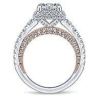 18K White-Rose Gold Cushion Halo Round Diamond Engagement Ring