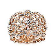 18k Rose Gold Contemporary Wide Band Ladies Ring