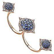 18k Rose Gold Kaslique Double Ring Ladies Ring