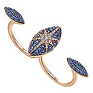 18k Rose Gold Kaslique Double Ring Ladies Ring