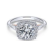 18k White And Rose Gold Round Halo Engagement Ring angle 1