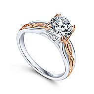 18k White And Rose Gold Round Straight Engagement Ring angle 3