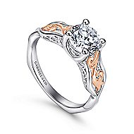 18k White And Rose Gold Round Twisted Engagement Ring angle 3