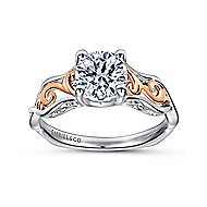 18k White And Rose Gold Round Twisted Engagement Ring angle 5