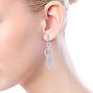 18k White Gold Art Moderne Drop Earrings angle 4