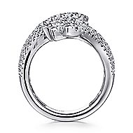 18k White Gold Art Moderne Wide Band Ladies' Ring angle 2