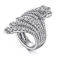 18k White Gold Art Moderne Wide Band Ladies' Ring angle 3