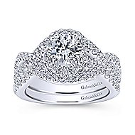 18k White Gold Contemporary Curved Wedding Band angle 4