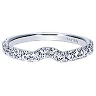 18k White Gold Contemporary Curved Wedding Band angle 1