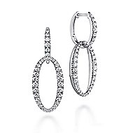 18k White Gold Contemporary Drop Earrings angle 1