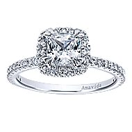 18k White Gold Cushion Cut Halo Engagement Ring angle 5