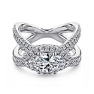 18k White Gold Marquise  Halo Engagement Ring angle 1