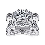 18k White Gold Marquise  Halo Engagement Ring angle 4