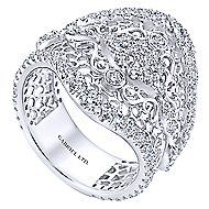 18k White Gold Mediterranean Wide Band Ladies' Ring angle 3