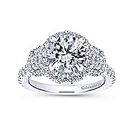 18k White Gold Round 3 Stone Halo Engagement Ring