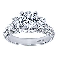 18k White Gold Round 3 Stones Engagement Ring angle 5