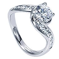18k White Gold Round Bypass Engagement Ring angle 3