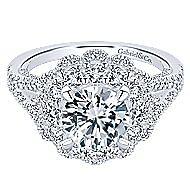 18k White Gold Round Double Halo Engagement Ring angle 1