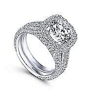 18k White Gold Round Double Halo Engagement Ring angle 3