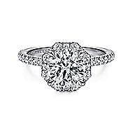 18k White Gold Round Octagonal Halo Engagement Ring