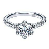 18k White Gold Round Straight Engagement Ring angle 1