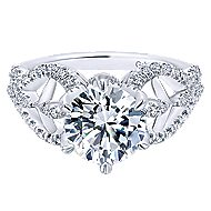 18k White Gold Round Twisted Engagement Ring angle 1