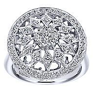 18k White Gold Victorian Fashion Ladies Ring