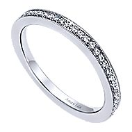 18k White Gold Victorian Straight Wedding Band angle 3