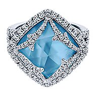 18k White Gold Vintage Inspired Rock Crystal, White Mother of Pearl & Turquoise Ladies Ring