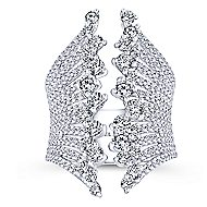 18k White Gold Waterfall Fashion Ladies' Ring angle 4