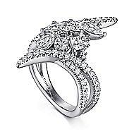 18k White Gold Waterfall Fashion Ladies' Ring angle 3