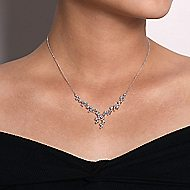 18k White Gold Waterfall Fashion Necklace angle 3