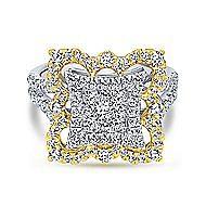 18k Yellow And White Gold Mediterranean Fashion Ladies' Ring angle 1